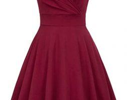 Women's Vintage Sleeveless V-Neck Flared A-Line Party Swing Dress